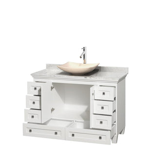"Vanity - Acclaim 48"" Single Bathroom Vanity In White, White Carrara Marble Countertop, Arista Ivory Marble Sink, And No Mirror"