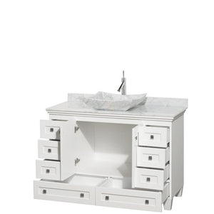 "Vanity - Acclaim 48"" Single Bathroom Vanity In White, White Carrara Marble Countertop, Avalon White Carrara Marble Sink, And No Mirror"
