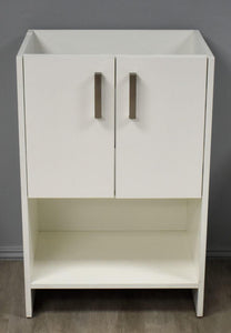 "Vanity - Cabo 24"" Modern Bathroom Vanity In Soft White With Satin Nickel Thick Hardware Cabinet Only"