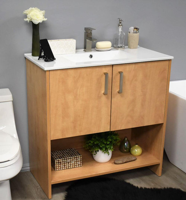 "Vanity - Cabo 30"" Modern Bathroom Vanity In Natural With Integrated Ceramic Top And Satin Nickel Thick Hardware"
