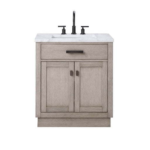 "Vanity - Chestnut 30"" Single Bathroom Vanity In Grey Oak W/ White Carrara Marble Top And Oil-rubbed Bronze Finish"