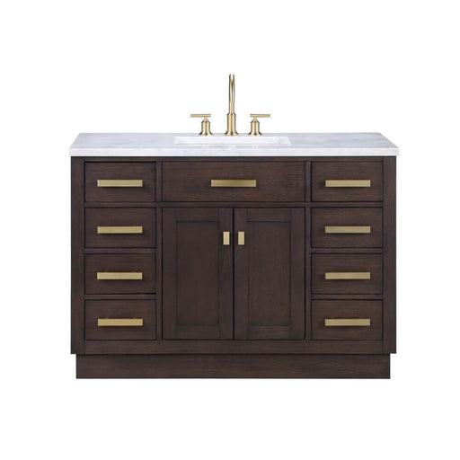 "Vanity - Chestnut 48"" Single Bathroom Vanity In Brown Oak W/ White Carrara Marble Top And In Satin Gold Finish"