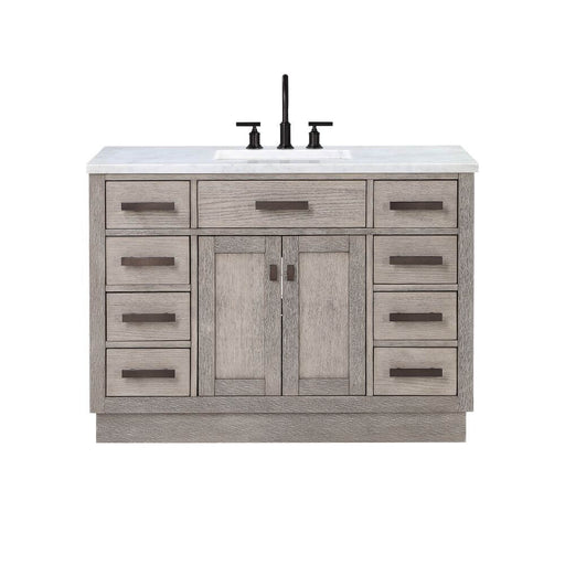 "Vanity - Chestnut 48"" Single Bathroom Vanity In Grey Oak W/ White Carrara Marble Top And In Oil-rubbed Bronze Finish"