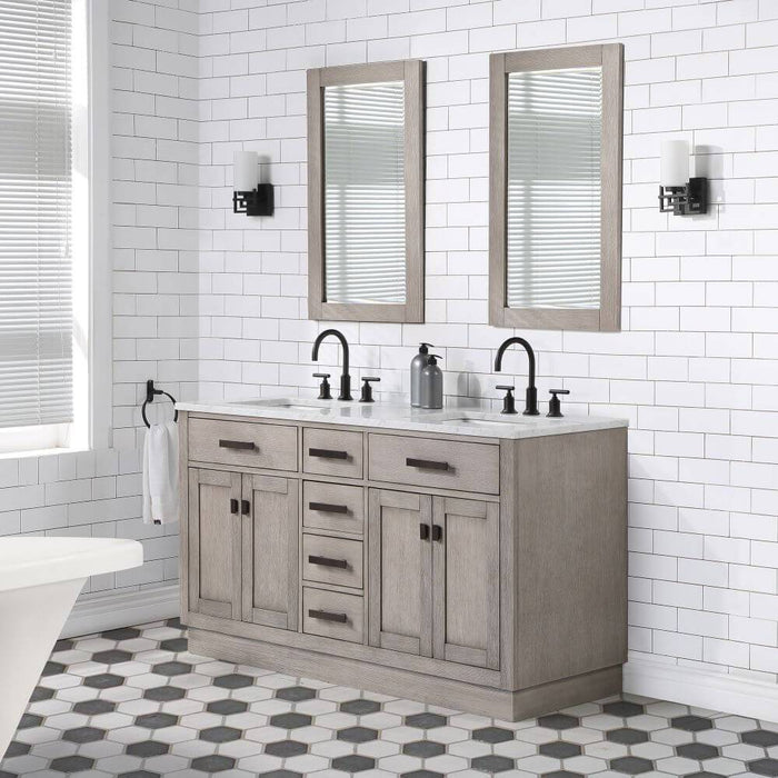 "Vanity - Chestnut 60"" Double Bathroom Vanity In Grey Oak W/ White Carrara Marble Top And Oil-rubbed Bronze Finish"