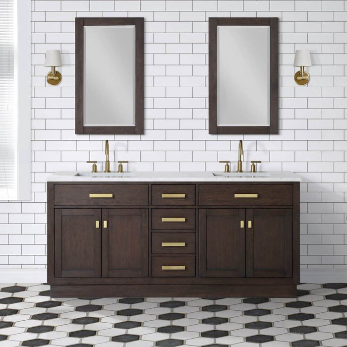 "Vanity - Chestnut 72"" Double Bathroom Vanity In Brown Oak W/ White Carrara Marble Countertop And In A Satin Gold Finish"