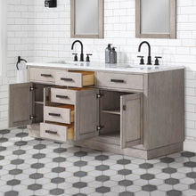 "Load image into Gallery viewer, Vanity - Chestnut 72"" Double Bathroom Vanity In Grey Oak W/ White Carrara Marble Top And In Oil-rubbed Bronze Finish"