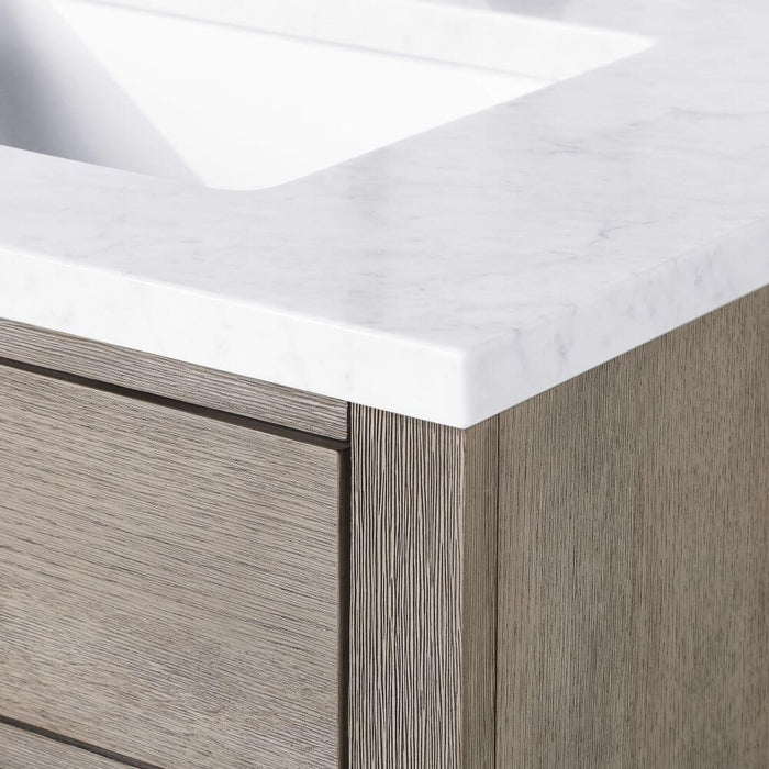 "Vanity - Chestnut 72"" Double Bathroom Vanity In Grey Oak W/ White Carrara Marble Top And In Oil-rubbed Bronze Finish"