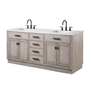 "Vanity - Chestnut 72"" Double Bathroom Vanity In Grey Oak W/ White Carrara Marble Top In Oil-rubbed Bronze Finish"