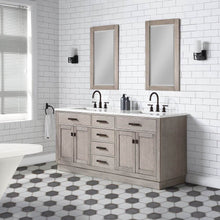 "Load image into Gallery viewer, Vanity - Chestnut 72"" Double Bathroom Vanity In Grey Oak W/ White Carrara Marble Top In Oil-rubbed Bronze Finish"