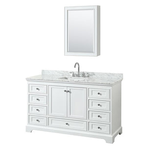 "Vanity - Deborah 60"" Single Bathroom Vanity In White With White Carrara Marble Countertop, Undermount Square Sink, And Medicine Cabinet"