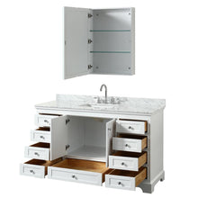 "Load image into Gallery viewer, Vanity - Deborah 60"" Single Bathroom Vanity In White With White Carrara Marble Countertop, Undermount Square Sink, And Medicine Cabinet"
