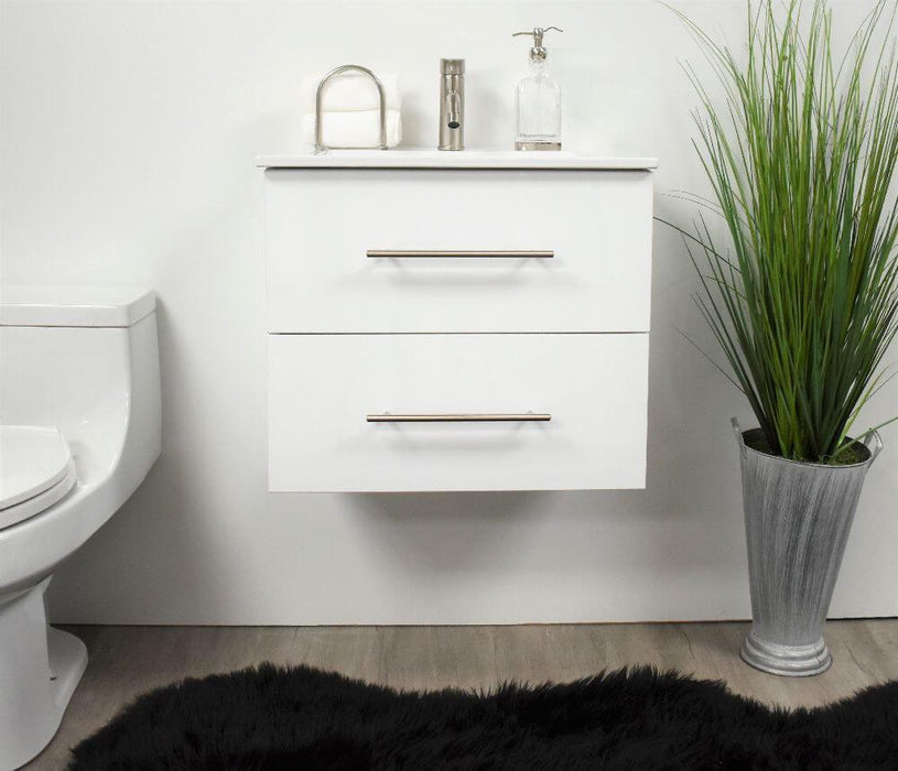"Vanity - Napa 30"" Modern Wall-Mounted Floating Bathroom Vanity With Ceramic Top And Round Handles In Glossy White"