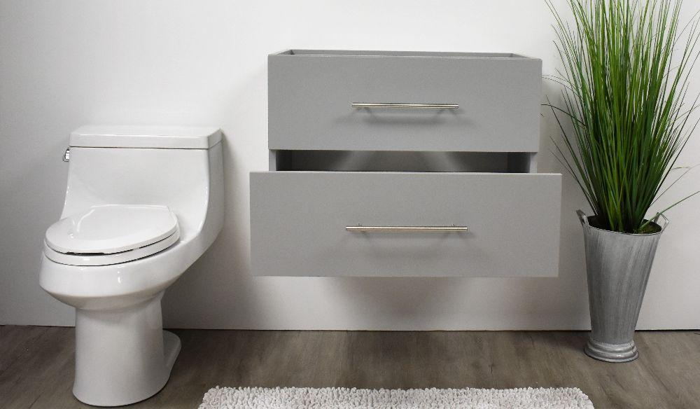 "Vanity - Napa 30"" Modern Wall-Mounted Floating Bathroom Vanity With Round Handles In Grey Cabinet Only"