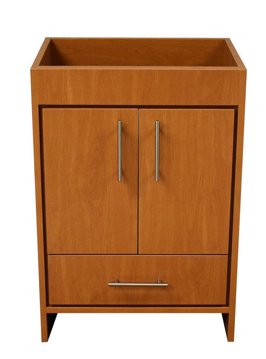 "Vanity - Pacific 24"" Modern Bathroom Vanity In Honey Maple With Stainless Steel Round Hollow Hardware Cabinet Only"