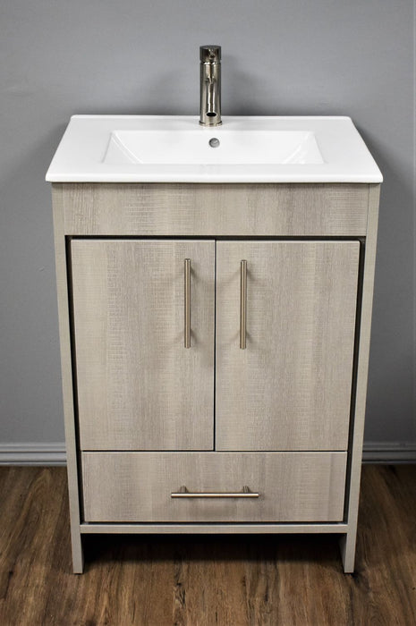 "Vanity - Pacific 24"" Modern Bathroom Vanity In Weathered Grey W/ Integrated Ceramic Top And Stainless Steel Round Hollow Hardware"