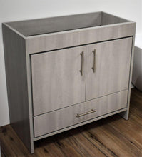 "Load image into Gallery viewer, Vanity - Pacific 36"" Modern Bathroom Vanity In Weathered Grey With Stainless Steel Round Hollow Hardware Cabinet Only"