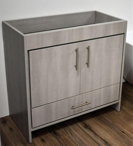 "Vanity - Pacific 36"" Modern Bathroom Vanity In Weathered Grey With Stainless Steel Round Hollow Hardware Cabinet Only"