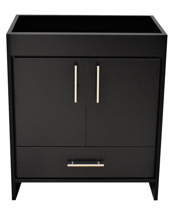 "Vanity - Rio 30"" Modern Bathroom Vanity In Black With  Stainless Steel Round Hollow Hardware Cabinet Only"