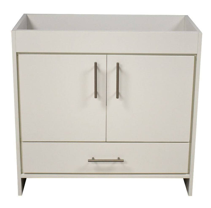"Vanity - Rio 36"" Modern Bathroom Vanity In Soft White With Stainless Steel Round Hollow Hardware Cabinet Only"