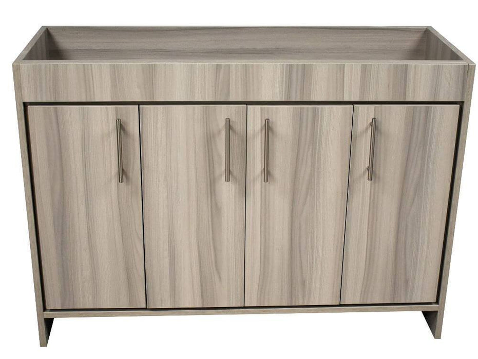 "Vanity - Rio 48"" Modern Bathroom Vanity In Ash Grey With Stainless Steel Round Hollow Hardware Cabinet Only"