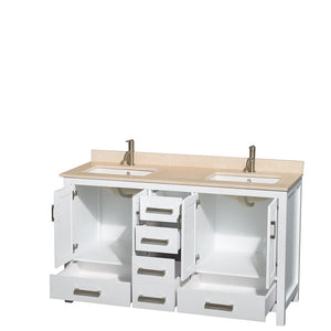"Vanity - Sheffield 60"" Double Bathroom Vanity In White, Ivory Marble Countertop, Undermount Square Sinks, And No Mirror"