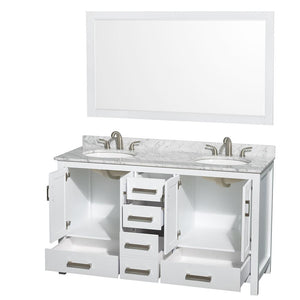 "Vanity - Sheffield 60"" Double Bathroom Vanity In White, White Carrara Marble Countertop, Undermount Oval Sinks, And 58"" Mirror"