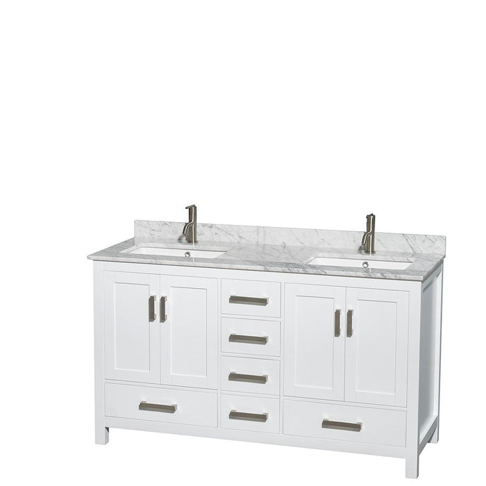 "Vanity - Sheffield 60"" Double Bathroom Vanity In White, White Carrara Marble Countertop, Undermount Square Sinks, And 58"" Mirror"