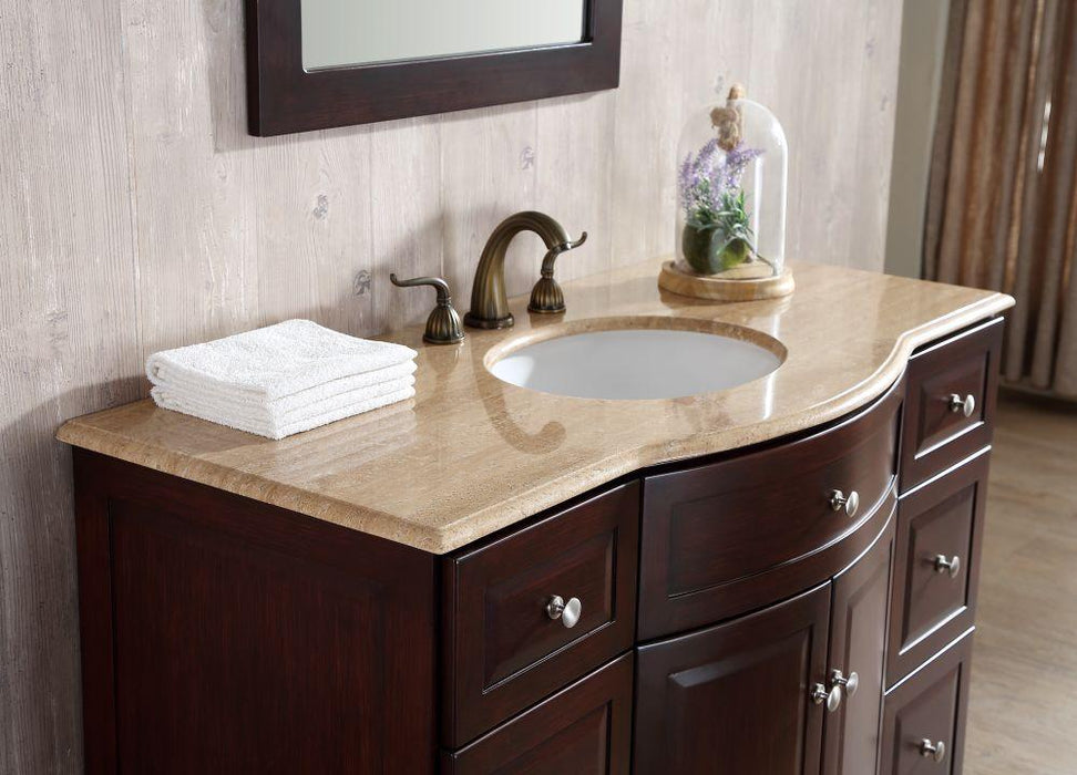 "Vanity - Stufurhome 48"" Lotus Single Sink Vanity With Travertine Marble Top And Mirror"