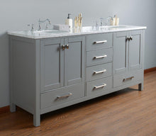 "Load image into Gallery viewer, Vanity - Stufurhome 72"" Malibu Grey Double Sink Bathroom Vanity"