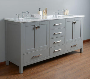 "Vanity - Stufurhome 72"" Malibu Grey Double Sink Bathroom Vanity"