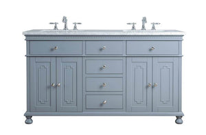 "Vanity - Stufurhome Abigail 60"" Embellished Grey Double Sink Bathroom Vanity"