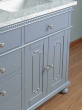 "Load image into Gallery viewer, Vanity - Stufurhome Abigail 60"" Embellished Grey Double Sink Bathroom Vanity"