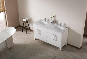 "Vanity - Stufurhome Adler 60"" White Double Sink Bathroom Vanity With Drains And Faucets In Chrome"