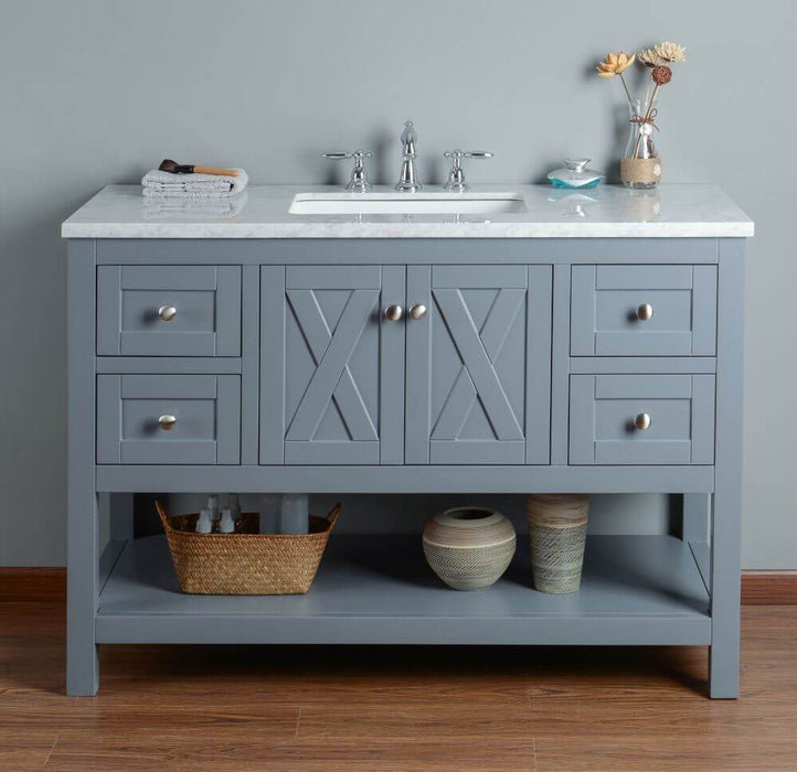 "Vanity - Stufurhome Anabelle 48"" Grey Single Sink Bathroom Vanity"