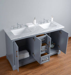 "Vanity - Stufurhome Ariane 60"" Slate Gray Double Vanity Cabinet Dual Bathroom Sinks"