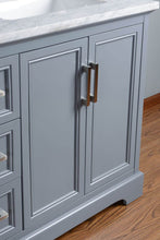 "Load image into Gallery viewer, Vanity - Stufurhome Ariane 60"" Slate Gray Double Vanity Cabinet Dual Bathroom Sinks"