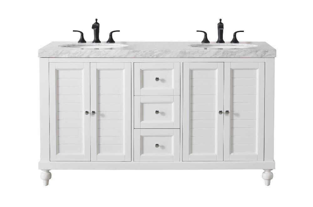 "Vanity - Stufurhome Kent 60"" White Double Sink Bathroom Vanity With Drains And Faucets In Matte Black"