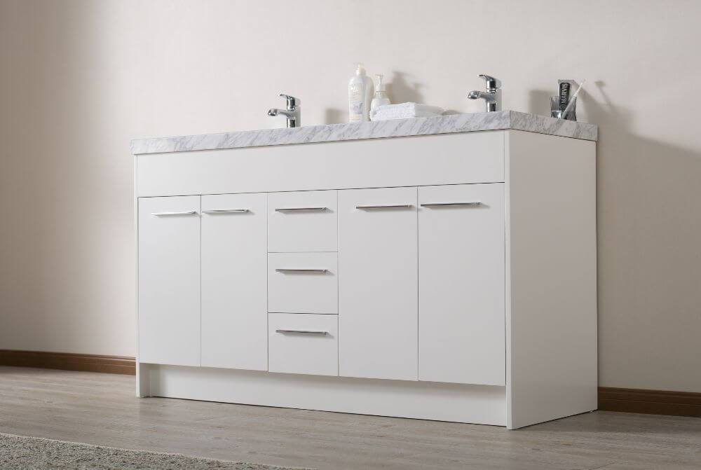 "Vanity - Stufurhome Lotus 60"" White Double Sink Bathroom Vanity With Drains And Faucets In Chrome"