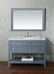 "Vanity - Stufurhome Marla 48"" Gray Single Sink Bathroom Vanity With Mirror"