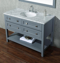 "Load image into Gallery viewer, Vanity - Stufurhome Marla 48"" Gray Single Sink Bathroom Vanity With Mirror"