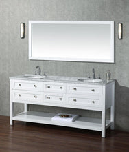 "Load image into Gallery viewer, Vanity - Stufurhome Marla 72"" White Double Sink Bathroom Vanity With Mirror"