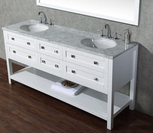 "Vanity - Stufurhome Marla 72"" White Double Sink Bathroom Vanity With Mirror"