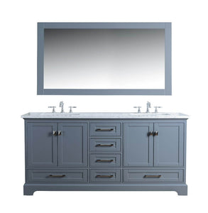 "Vanity - Stufurhome Newport Grey 72"" Double Sink Bathroom Vanity With Mirror"