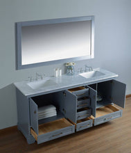 "Load image into Gallery viewer, Vanity - Stufurhome Newport Grey 72"" Double Sink Bathroom Vanity With Mirror"