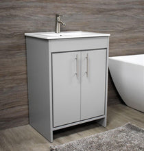 "Load image into Gallery viewer, Vanity - Villa 24"" Modern Bathroom Vanity In Grey With Integrated Ceramic Top And Stainless Steel Round Hollow Hardware"