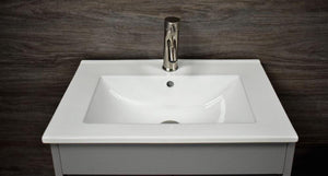 "Vanity - Villa 24"" Modern Bathroom Vanity In Grey With Integrated Ceramic Top And Stainless Steel Round Hollow Hardware"