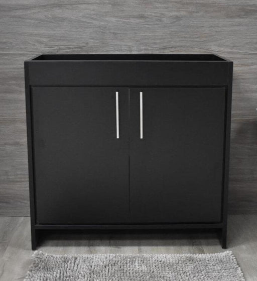 "Vanity - Villa 36"" Modern Bathroom Vanity In Black With Stainless Steel Round Hollow Hardware Cabinet Only"