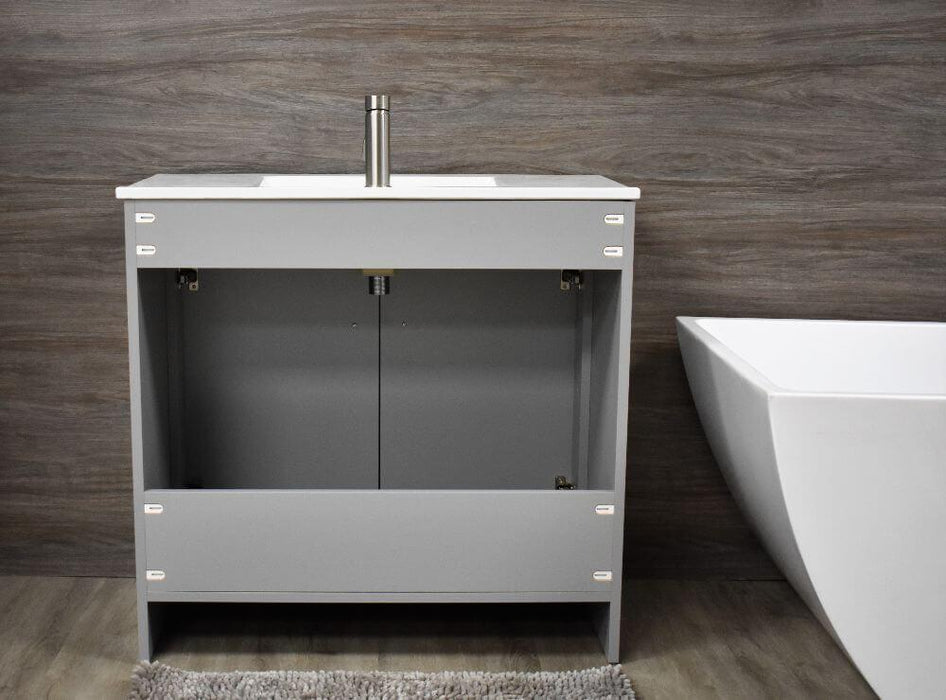 "Vanity - Villa 36"" Modern Bathroom Vanity In Grey With Integrated Ceramic Top And Stainless Steel Round Hollow Hardware"
