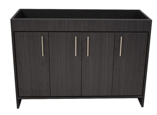"Vanity - Villa 48"" Modern Bathroom Vanity In Black Ash With Stainless Steel Round Hollow Hardware Cabinet Only"