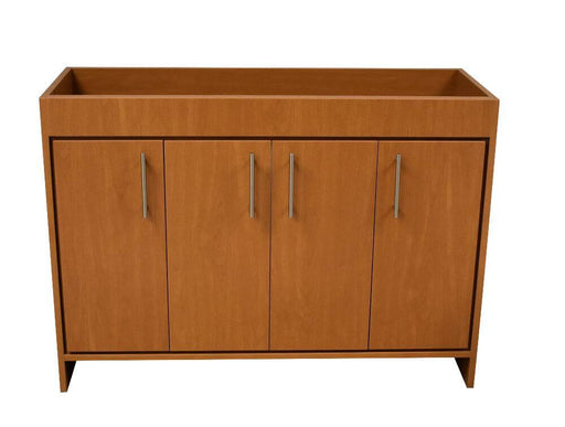 "Vanity - Villa 48"" Modern Bathroom Vanity In Honey Maple With Stainless Steel Round Hollow Hardware Cabinet Only"